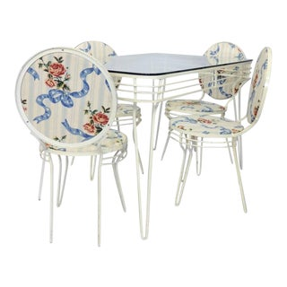 Wrought Iron Art Moderne Dinette Table and Chairs For Sale