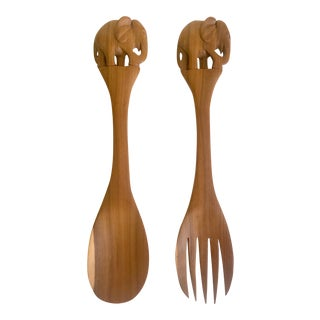 Vintage Mid Century African Hand Carved Kenyan Olive Wood Elephant Salad Serving Utensils - 2pc Set