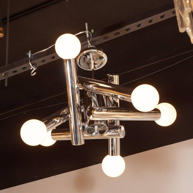 Silver Mid-Century Modern Sculptural Chrome and Frosted Glass Chandelier by Sciolari For Sale - Image 8 of 8