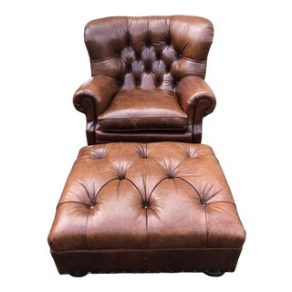 Luxe Ralph Lauren Tufted Leather Writers Chair and Ottoman For Sale