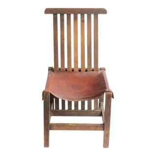 Antique Leather & Oak Accent Chair