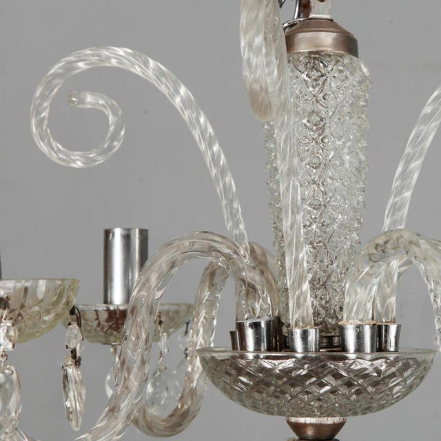 Large Double Tier Murano Clear Glass Chandelier For Sale - Image 4 of 10