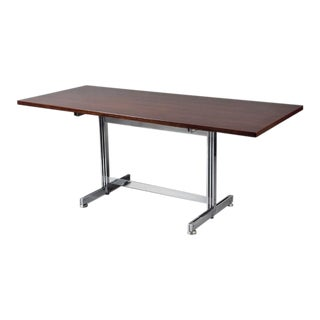 Rosewood & Steel Writing Table For Sale