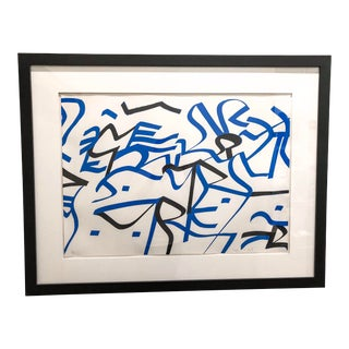Black & Blue Abstract Screen Print by Ulfort Wilke For Sale