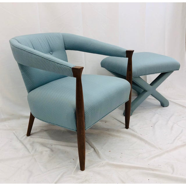 American of Martinsville Vintage Mid Century Modern Arm Chair & Ottoman For Sale - Image 4 of 13