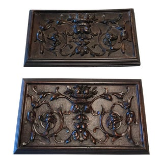 French Hand Carved Wood Plaques - a Pair For Sale