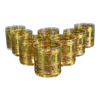 Culver Heavy Gold and Green Decorated Rock Glasses - Set of 8 For Sale
