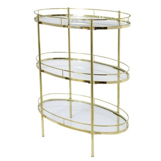 Mid-Century Signed Oval Solid Brass Three Tier Etagere W/Glass Shelves For Sale