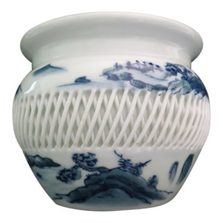 Imari Porcelain Basket Weave Hand Painted Bowl