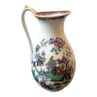 1870s British Victorian Oriental Decor Ceramic Jug For Sale