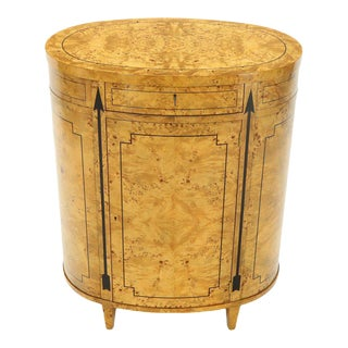 Tall Oval Burl Wood One Drawer Neoclassical Centre Cabinet by Baker Furniture For Sale