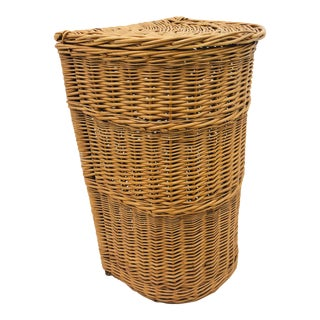 Vintage Woven Wicker Hamper Basket For Sale