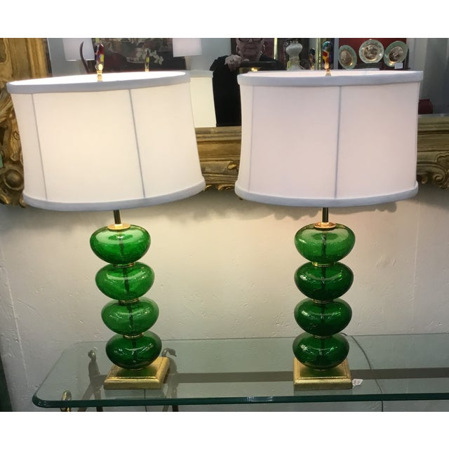 Vintage Murano Emerald Green Lamps - a Pair - Image 2 of 3
