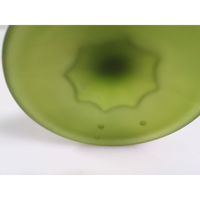 Vintage Indiana Glass Avocado Green Satin Goblet For Sale In Houston - Image 6 of 6