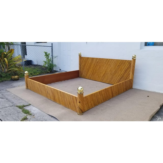 Mid-Century Modern 1970s Vintage Marcello Mioni Pencil Reed Rattan & Brass King Bed Frame For Sale - Image 3 of 12
