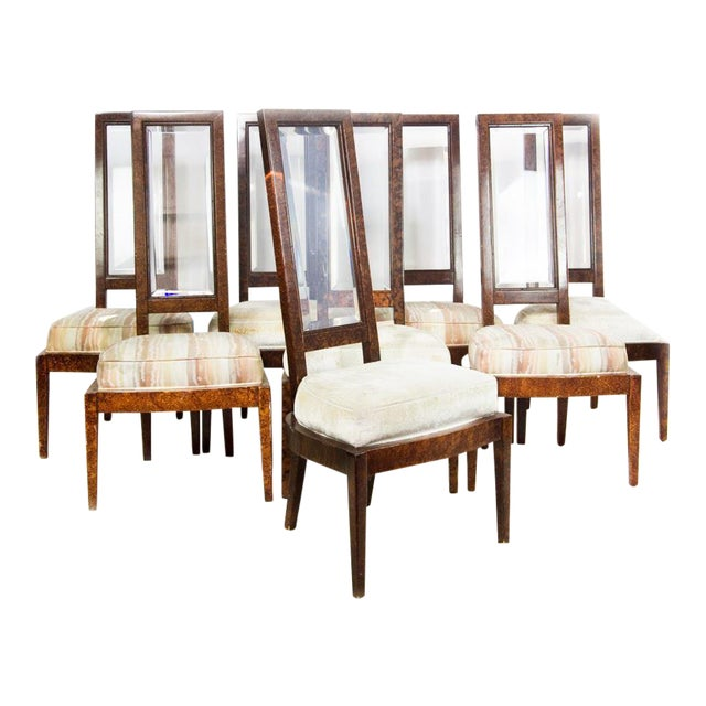 Lucite and Birdseye Maple Veneer Mid-Century Modern Dining Chairs - Set of 8 - Image 1 of 11