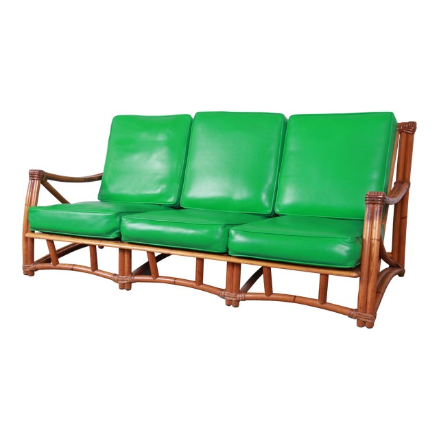 Heywood Wakefield Hollwood Regency Mid-Century Modern Rattan Sofa For Sale