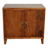 Image of Vintage Mid Century Modern Solid Wood Record Storage Cabinet W Brass Hardware For Sale