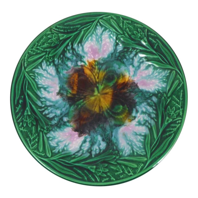 19th English Majolica Clover and Lilies Plate For Sale