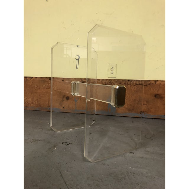 1970s 1970s Mid-Century Modern Lucite & Brass Table Base For Sale - Image 5 of 11