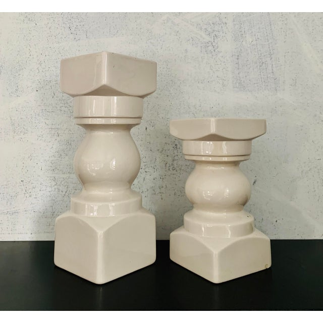 "Pair of vintage mid century modern vases, made in 1978. Dimensions: Tall - 3.5""W x 3.5""D x 9.75""H Short - 3.5""W x 3.5""D x..."