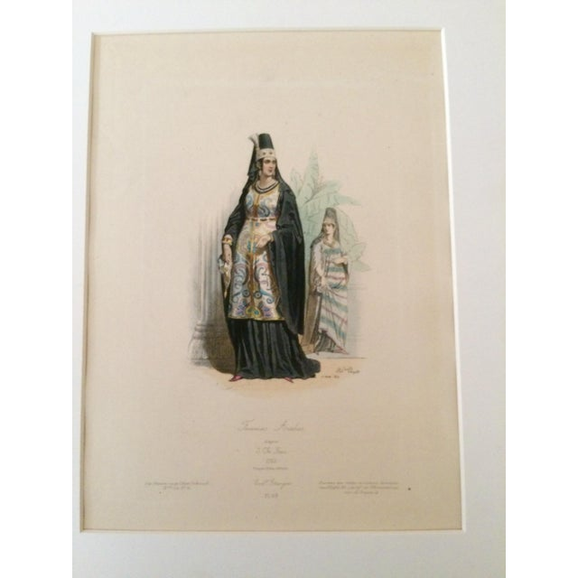 """Stunning and rare French c. 1880 Antique Original Print """"Femme Arabes."""" Color is hand-tinted. I bought this 23 years ago..."""