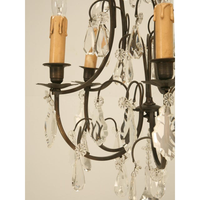 Brown French Vintage Five-Light Bronze Chandelier For Sale - Image 8 of 10