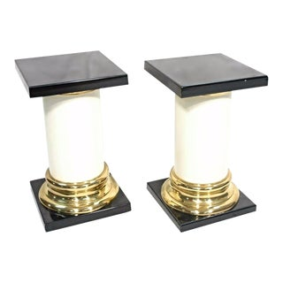 Mastercraft Mid-Century Modern Lacquer Brass Pedestal Tables - A Pair For Sale