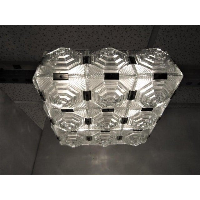 Mid 20th Century Art Deco Revival Flush Mount Glass Ceiling Squares - 2 Available For Sale - Image 5 of 13