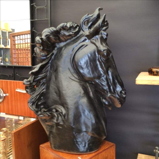 Black Monumental Horse Head Sculpture For Sale - Image 8 of 11