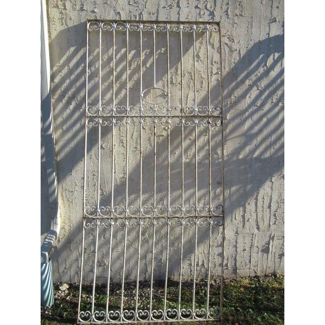 Antique Victorian Iron Gate Window Garden Fence Architectural Salvage Door For Sale In Philadelphia - Image 6 of 6