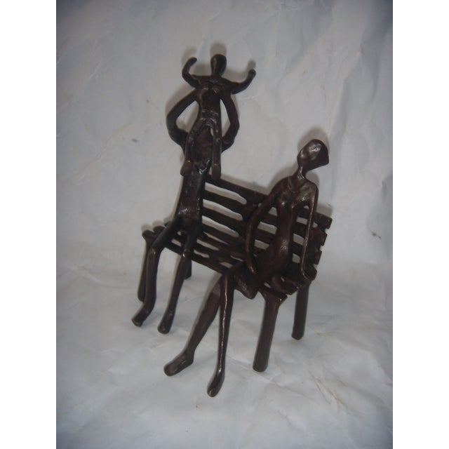 Family on Bench Bronze Sculpture - Image 3 of 8