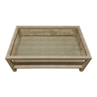 """Contemporary Made Goods """"Lafeu"""" Gray Faux Shagreen Coffee Table For Sale"""