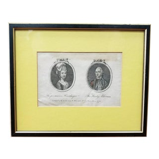1778 English Cameo Portrait Engraving of the Persuasive Housekeeper and the Hearty Alderman by T. Walker For Sale