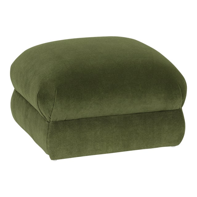 Not Yet Made - Made To Order Casa Cosima Milan Linen Ottoman, Broccoli For Sale - Image 5 of 5
