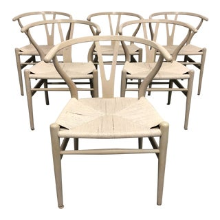 Set of Six Mid-Century Hans Wegner Wishbone Chairs For Sale