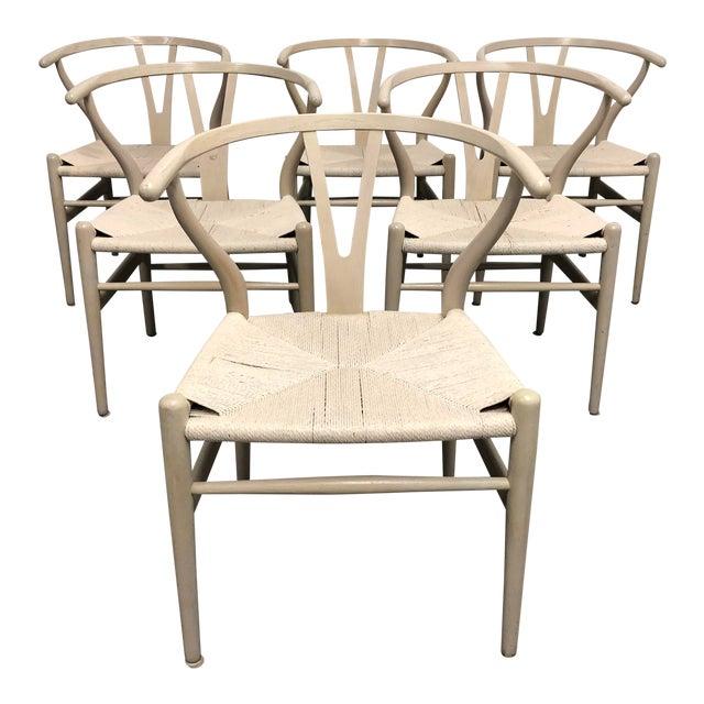Set of Six Mid-Century Hans Wegner Wishbone Chairs For Sale