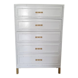 Dixie Aloha Faux Bamboo White High Gloss Chest For Sale