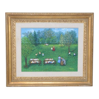 "Mollie Simon ""Sunday School Picnic"" Folk Art Painting C.1970"