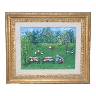 "Mollie Simon ""Sunday School Picnic"" Folk Art Painting C.1970 For Sale"