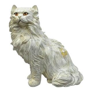 "Vintage Italian Hollywood Regency Large 22"" Plaster Cat Figure Statue Sculpture For Sale"