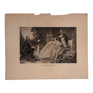"""Antique Great Men and Famous Women Print, """"Tasso and the Two Eleanor's"""" Selmar Hess Publishers 1894 For Sale"""