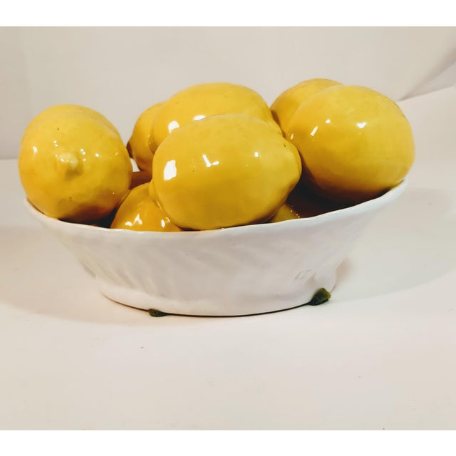White Vintage Italy Italian Majolica Fruit Lemon Bowl Porcelain Bowl For Sale - Image 8 of 8