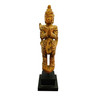 19th Century Carved Wood Thai Buddha For Sale