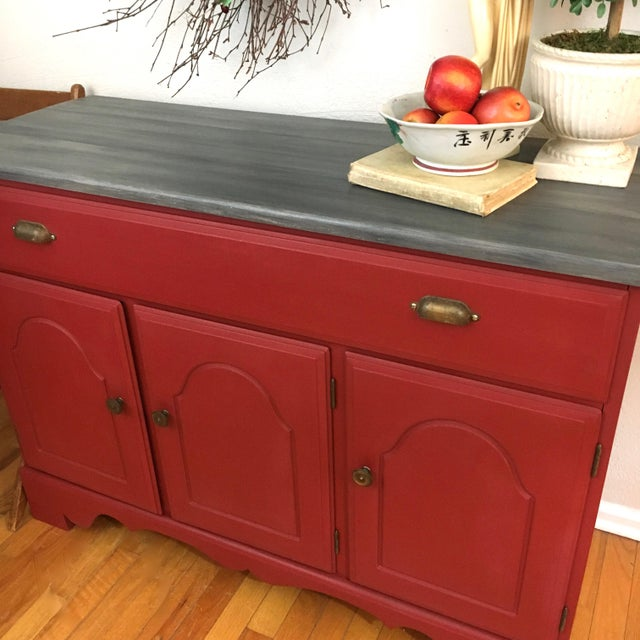 Swell 1960S Shabby Chic Red Painted Wood Server Buffet Download Free Architecture Designs Lukepmadebymaigaardcom