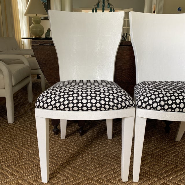 Contemporary White Made Goods Faux Shagreen Side Chairs- a Pair For Sale - Image 3 of 11