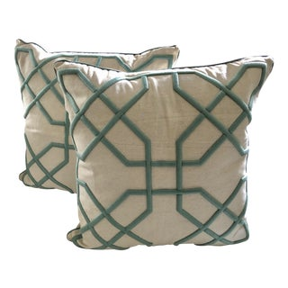 Geometric Tiffany Green Embroidered Pillows, Pair For Sale