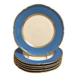 Castleton Cornflower Blue Scalloped Dinner Plates - Set of Six For Sale