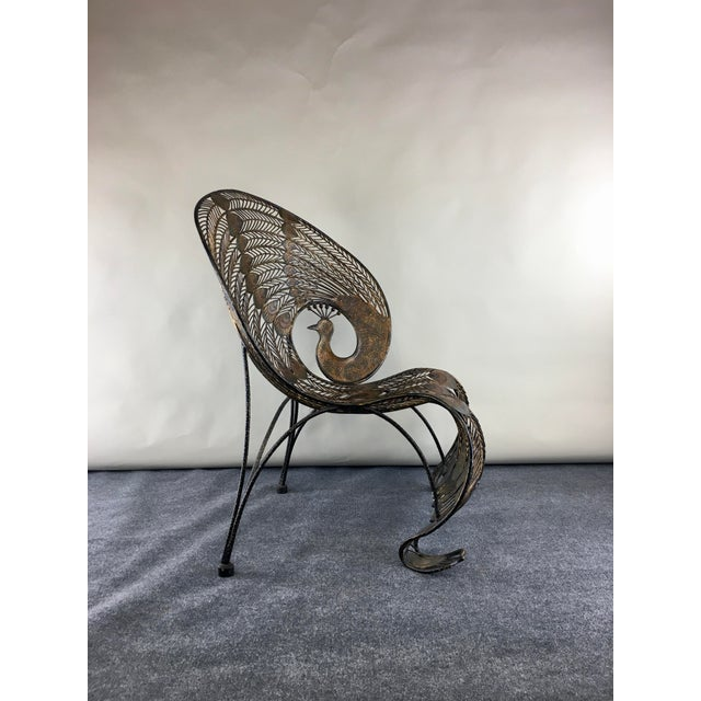 Contemporary 1990s Wrought Iron Sculptural Peacock Chair by Artmax For Sale - Image 3 of 11