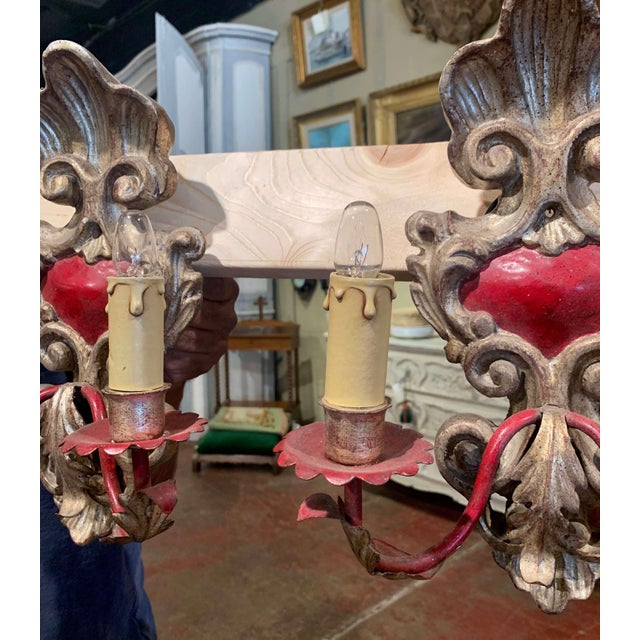 Pair of Italian Carved Wood and Metal Gilt and Silvered Two-Light Wall Sconces For Sale - Image 4 of 8